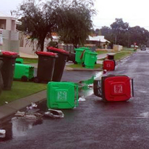 Wheelie bins blown by the storm