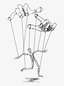 drawing of puppet on string