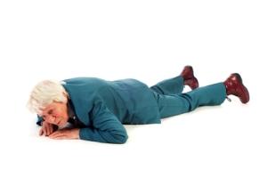 Old lady fallen flat